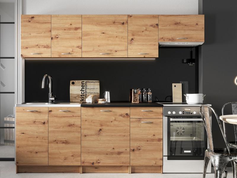 Complete Kitchen Set of 7 Cabinets Units Flat Pack in Artisan Oak – Nela 2 (STO-NELA_SET-7UNITS_1.8/2.4-ARTISAN)