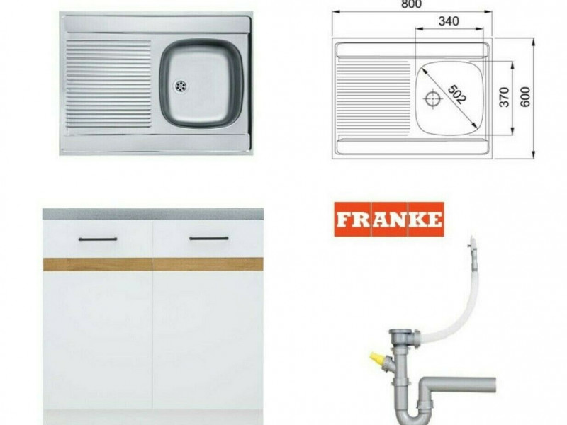 Modern Free Standing Kitchen Cabinet Cupboard Under Sink Unit 80cm in White/White Gloss with Single Bowl Franke Sink and Waste - Junona (K24-DK2D/80/82-BI/BIP-KPL01+FRANKE)