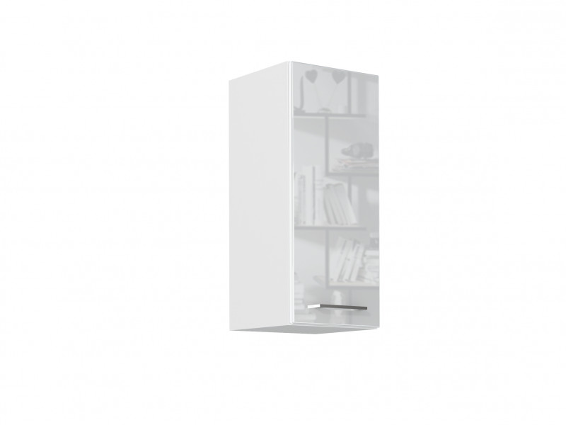 Modern White High Gloss Kitchen Wall Cabinet 30cm Cupboard 1 Door 300 Hanging Unit - Rosi (STO-ROSI-W30-P/L-BI/BIP-KP01)