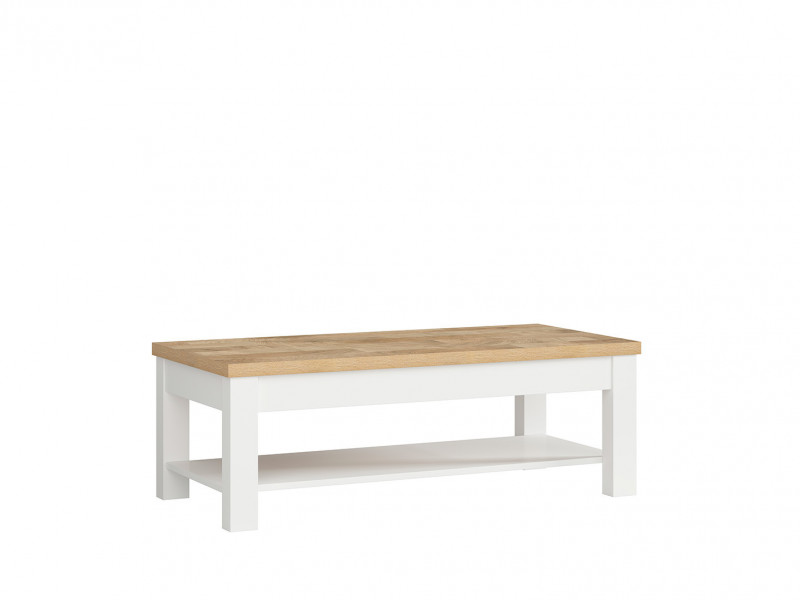 Country Cottage Rectangular Coffee Table with Storage Shelf White/Oak - Dreviso (D05022-TXL_DREVISO-DWM/BAL)