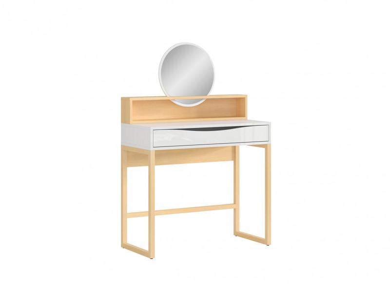 Modern Dressing Table 1 Drawer & Round Mirror Shelf Extension in White Gloss / Oak Effect - Pori (L87-NAD-DP-KPL01+L87-TOL-BIP/DP-KPL01)