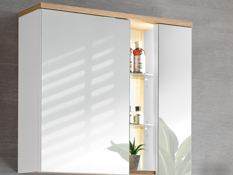 White & Oak Modern Wall Mounted Mirror Bathroom Storage Cabinet Unit with LED Light - Bahama (BAHAMA_841_WHITE)