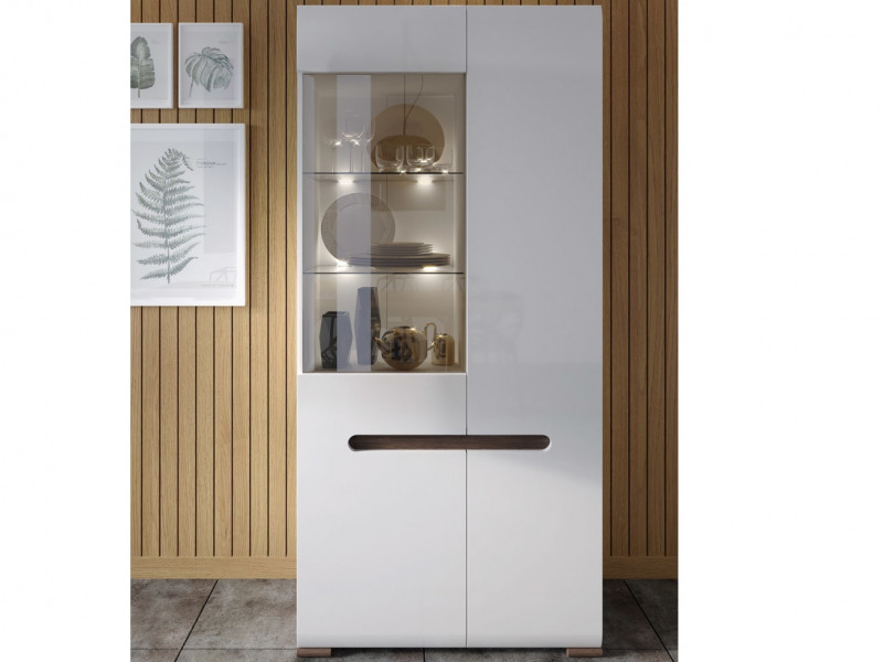 Tall Wide Glass Display Cabinet Unit with LED Light in White Gloss or Oak - Azteca (REG1W1D/19/9)