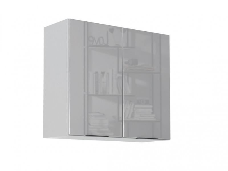 Light Dove Grey Gloss Kitchen Wall Cabinet 80cm Cupboard 2 Door Wall Mounted 800 Unit - Luna (STO-LUNA-W80-SZ-SZP-KP01)