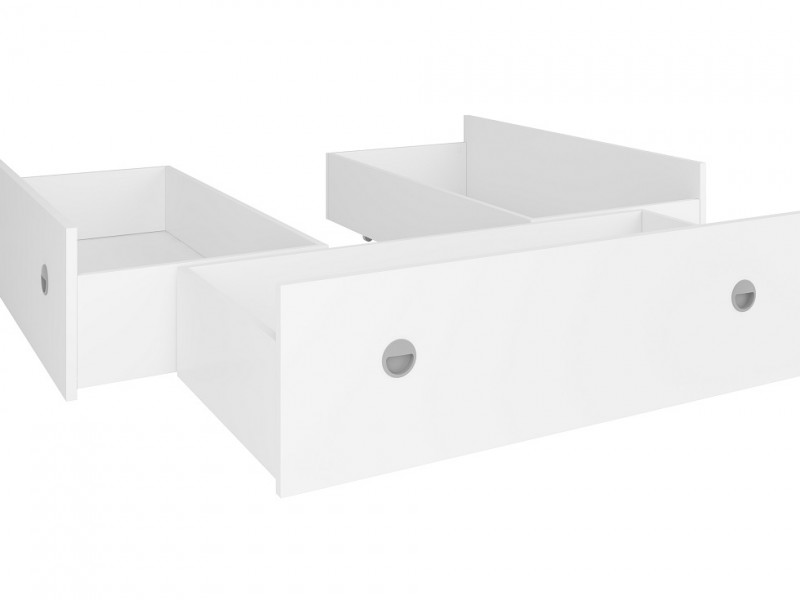 Set of Three Underbed Storage Drawers for Double Bed in White Matt Effect Finish- Nepo (S435-LOZ3S_OPCJA-BI-KPL01)