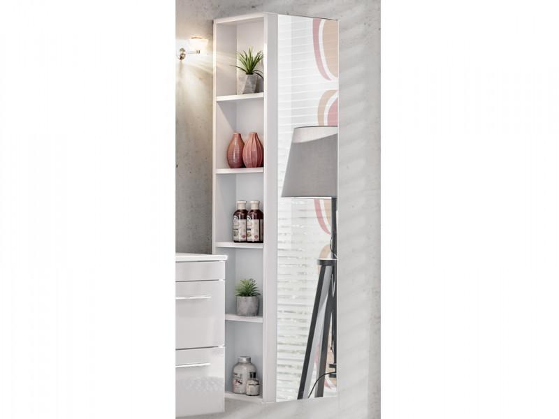 Modern Tall Bathroom Mirror Cabinet Shelving Storage Unit White Matt/White Gloss - Twist (TWIST WHITE 802)