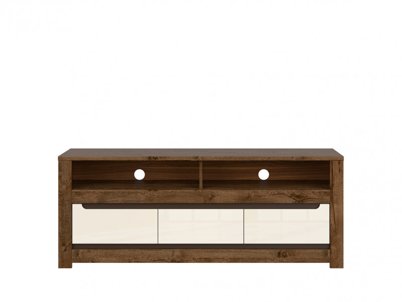 Modern TV Cabinet Stand Entertainment Unit with 3 Drawers in Cream Gloss and Dark Oak - Ruso (S407-RTV3S-DARL)