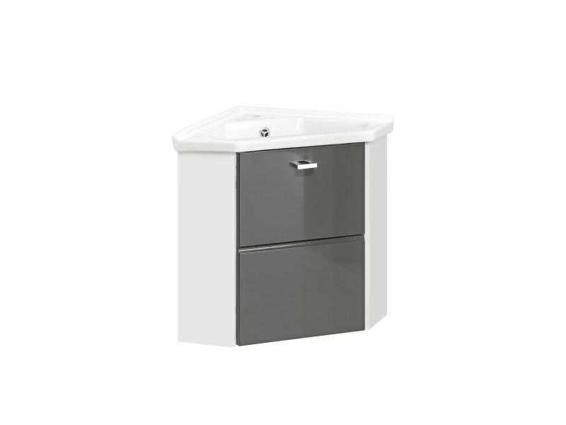 Vanity Cabinet Corner Unit Wall Mounted Bathroom with Ceramic Sink White Matt/Grey Gloss - Finka (FINKA G 824 & SINK)