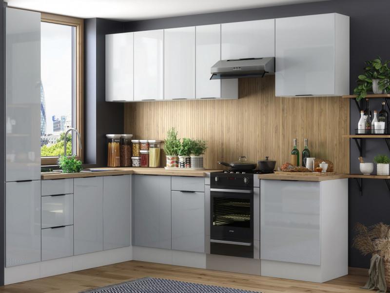 Light Dove Grey Gloss Kitchen Units Corner Set of 11 Cabinets with Slim Larder Cupboard  - Luna (STO-LUNA-SET-11UNITS-40SL-SZ-SZP)