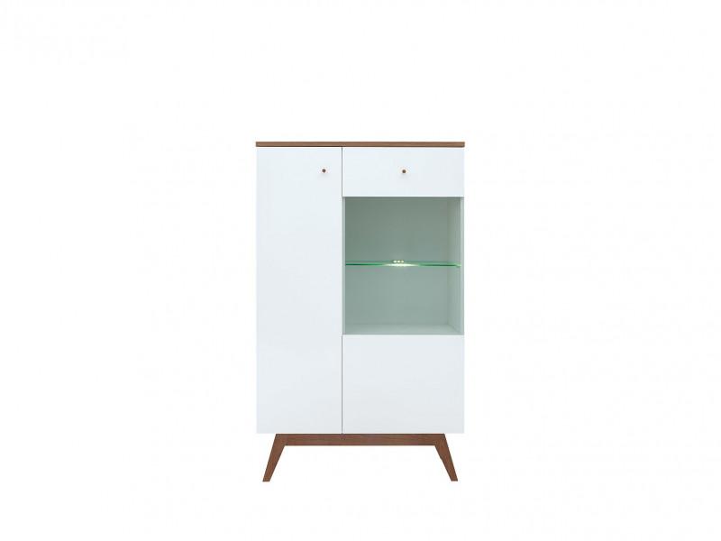 Scandinavian Wide Living Room Display Cabinet Storage Cabinet Optional LED Light Wooden Legs White/Larch - Heda (S385-REG1D1W-BI/MSZ/BIP-KPL01)