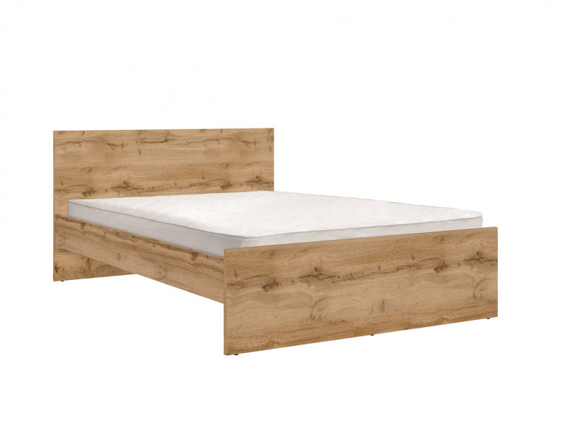 Modern Double Bed Frame Headboard Wooden Slats 140 cm Wotan Oak - Zele (S383-LOZ/140-DWO-KPL01)