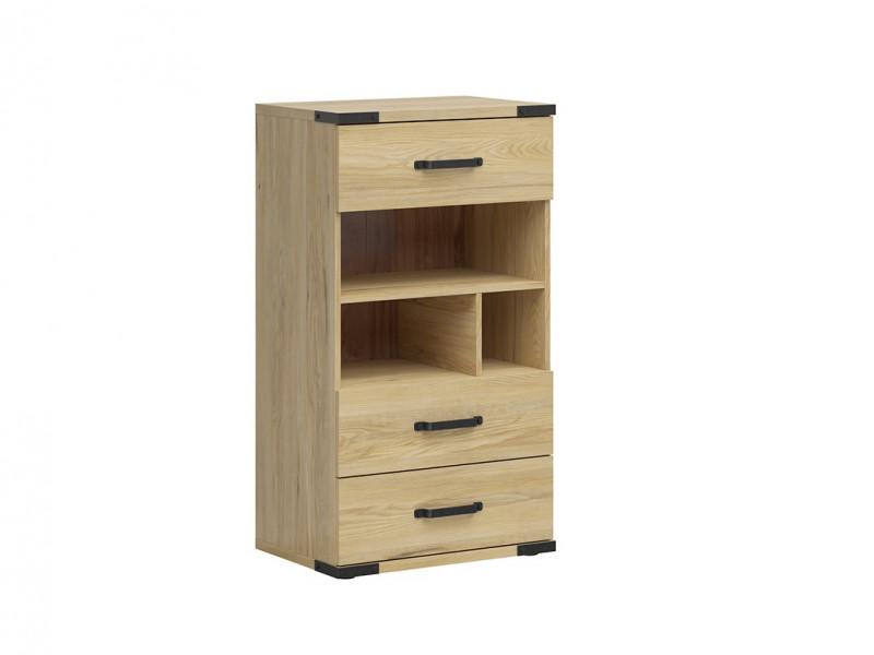 Modern Industrial Chest of Drawers Storage Unit with Open Storage Shelving Belarus Ash - Lara (S463-KOM3S-JBE-KPL01)