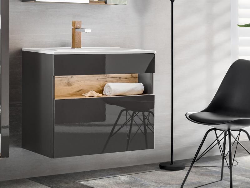Modern Grey Gloss Wall Vanity Cabinet 800 Unit with Designer Oak Shelf LED Light Ceramic Sink - Bahama (BAHAMA_821_GREY+CFP - 80D / LAVA 8003-80)
