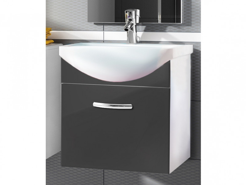 Wall Bathroom Vanity Unit Cabinet & Ceramic Sink Basin 550mm Grey Gloss - Coral (Coral DUM KALIA Grey)