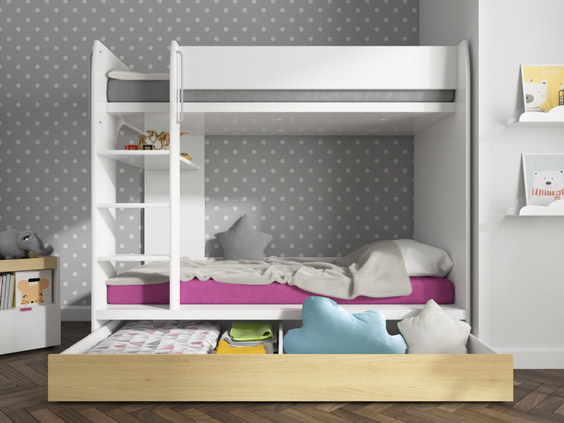 Modern White Gloss & Oak Finish High Double Bunk Bed with Ladder Kids Bedroom Furniture  - Princeton (S406-LOZ1S/90P-BIP / DP)