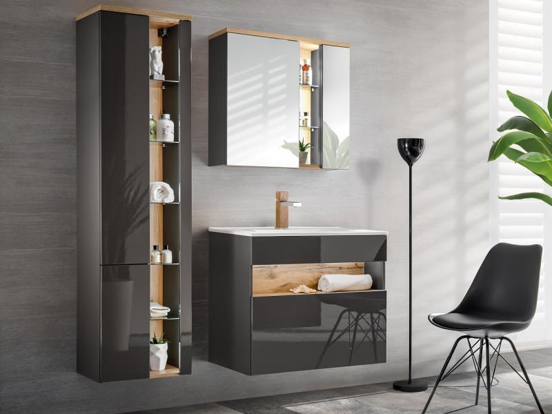 Modern Grey Gloss Bathroom Furniture Set Wall 80cm Vanity Ceramic Sink Tall Cabinet Unit LED Light - Bahama (BAHAMA_821_SET_GREY)