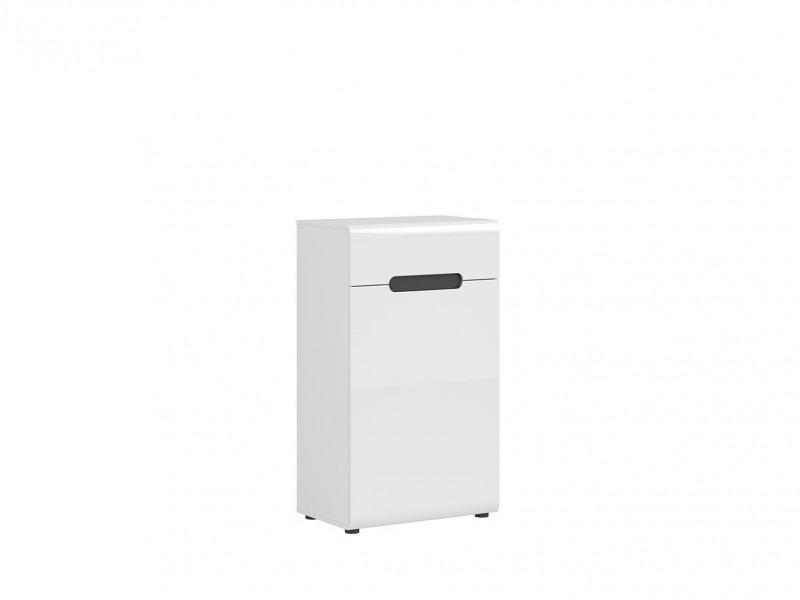 Modern Hallway Storage Cabinet Unit Door and Drawer White/White High Gloss - Azteca Trio (M246-KOM1D1S/10/6-BI/WEM/BIP-KPL01)