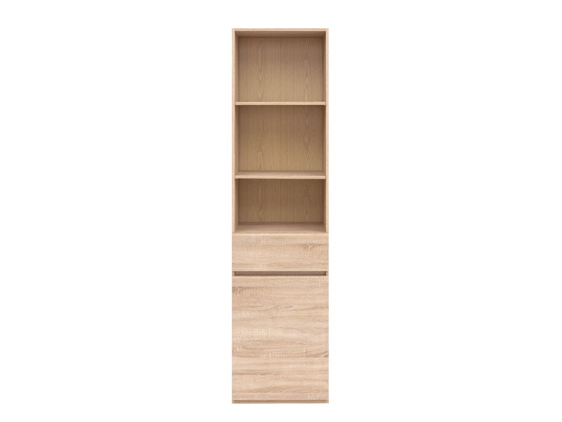 Modern Tall Shelving 1-Drawer Cabinet Storage Unit Sonoma Oak - Academica (S324-REG1D1S-DSO-KPL01)