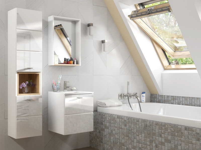 Bathroom Cabinet 40cm Set Wall Mounted with Sink White Gloss - Finka (FINKA_821_SET_WHITE)