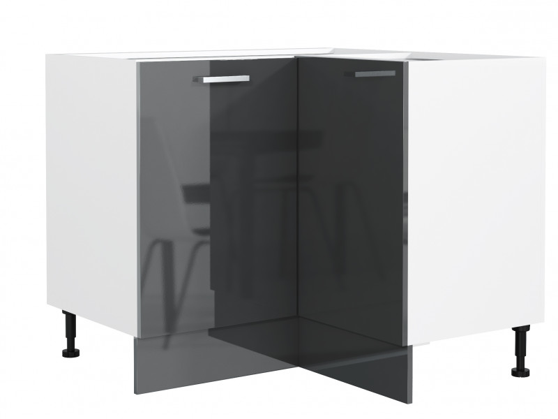 Free Standing White/Grey Gloss Kitchen Cabinet Corner Base Unit - Modern Luxe (STO-MODERN_LUX-DRP-P/L-GREY-KP01)