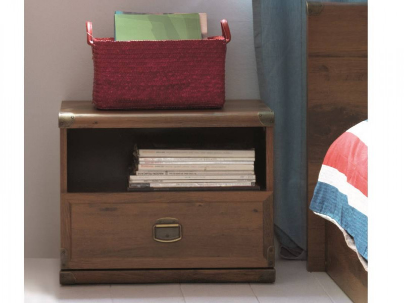 Cottage Style Bedside Cabinet Table Side Storage Unit with Drawer in Dark Oak Effect Finish - Indiana (S31-JKOM1s-DSU-KPL01)