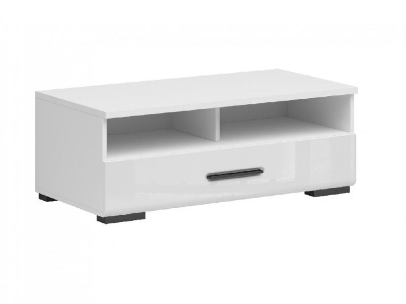 Modern White Gloss Entertainment Media Bench TV Cabinet Storage Drawer Unit 100 cm - Assen (S513-RTV1S/4/10-BI/BIP-KPL01)