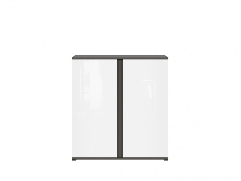 Modern 2 Door Cabinet Grey Matt and White Gloss Storage Living Room Kids Bedroom Office Unit  - Graphic (S343-KOM2D/C-SZW/BLP-KPL01)
