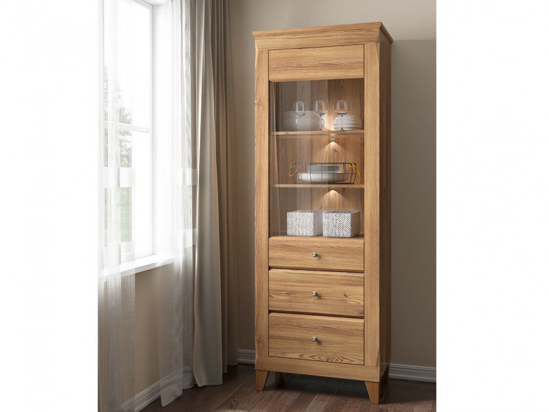 Traditional Light Oak Tall Glass Display Cabinet Showcase Storage Unit LED Lights - Bergen (S359-REG1W2S-MSZ-KPL01)