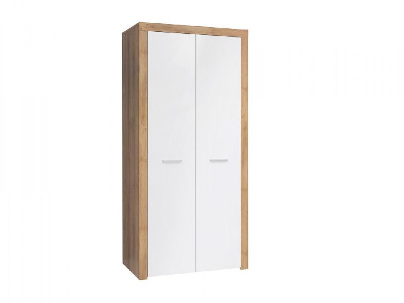 Modern 2 Door Double Wardrobe Shelf Hanging Rail 90cm Storage Unit Oak Effect White Gloss - Balder (S382-SZF2D-DRI/BIP-KPL01)