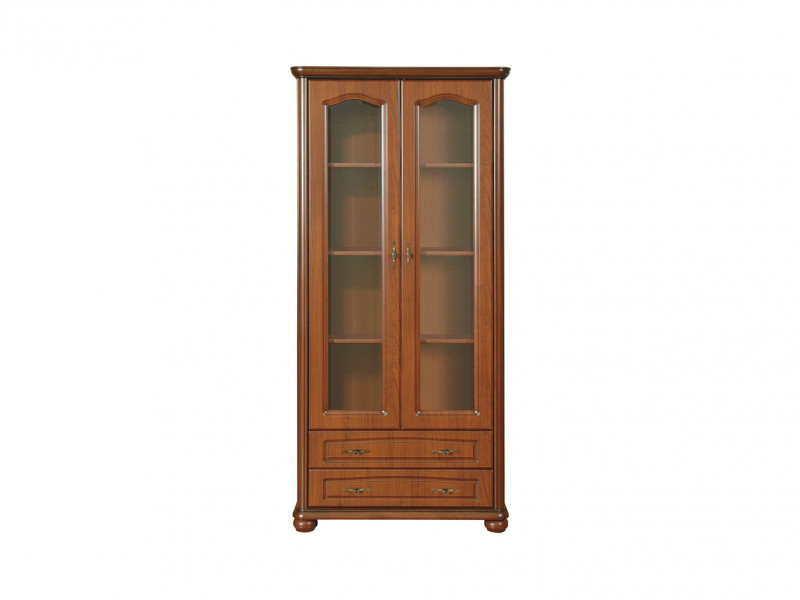 Glass Display Cabinet Classic Style Traditional Living Room Furniture Cherry Finish - Natalia (WIT100/2s)