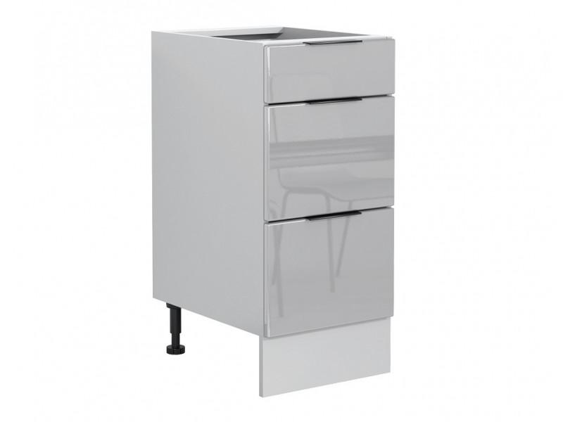 Light Dove Grey Gloss Kitchen Base Cabinet 40cm Drawer Unit 400 Free Standing Cupboard - Luna (STO-LUNA-D40S/3-SZ/SZP-KP01)