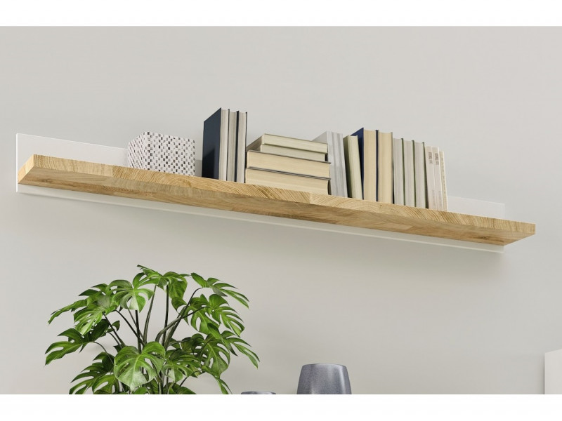 Modern Wall Mounted Storage Floating Shelf Panel Unit 147cm White Matt / Oak finish - Alameda (S420-POL/147-BIP/DWM)