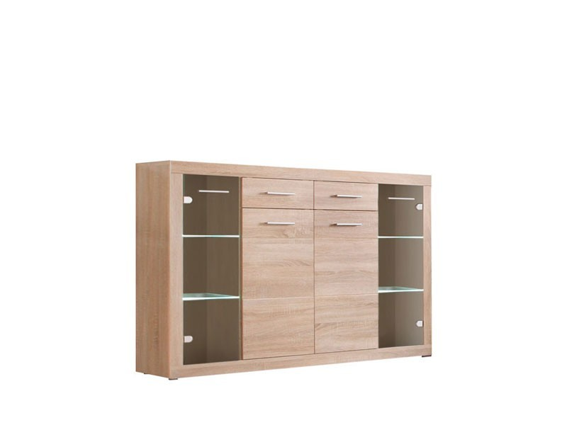 Wide Sideboard Dresser Display Cabinet  with LED Lighting - Cancan (KOM2D2S2W)