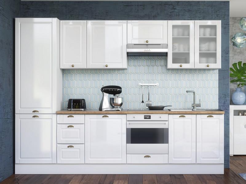 White High Gloss Kitchen 9 Cabinets Unit Set Shaker Cupboards Larder Country Modern Style - Antila (HOF-ANTILA_SET-9UNITS_3.0-BI-BIP)