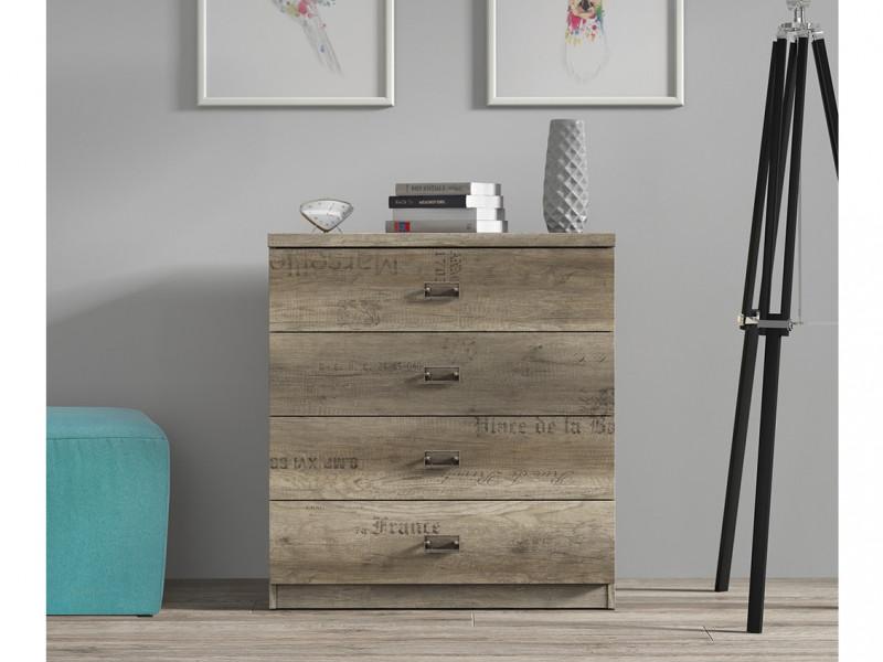 Urban Wide Bedroom Chest of Drawers Storage Unit 4 Drawers 80cm Oak Effect and Grey Finish - Malcolm (S325-KOM4S/80-DAMO/SZW/DAMON-KPL01)