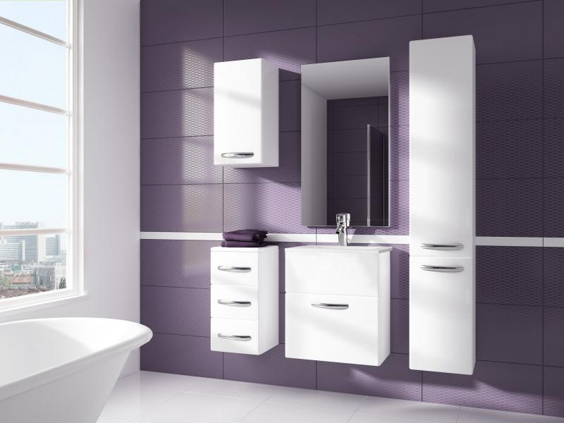 Bathroom Furniture Set White High Gloss Wall Hung Units & Sink 600mm - Coral (Coral SET YRSA White)