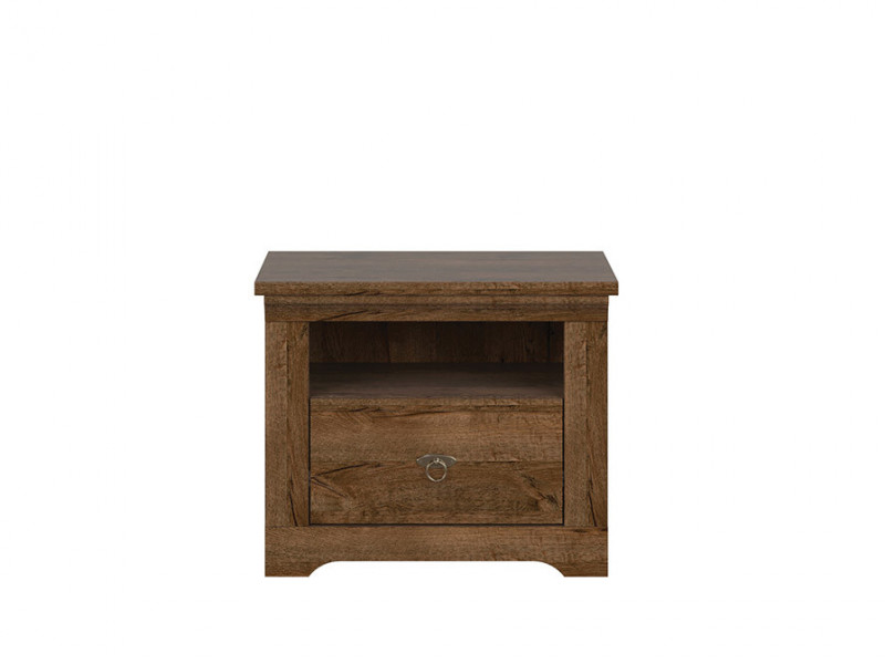 Classic Bedside Cabinet Table Storage Unit 1-Drawer Bedroom Dark Oak - Patras (S405-KOM1S-DARL-KPL01)