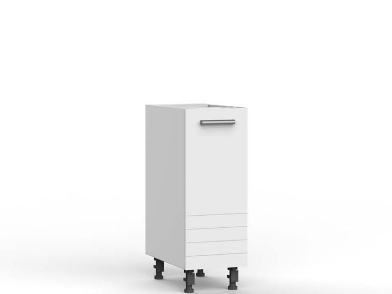 Free Standing White/Light Grey Kitchen Cabinet Cupboard Base Unit 30cm - Paula (STO-PAULA-D30-P/L-GR/WHITE-KP01)