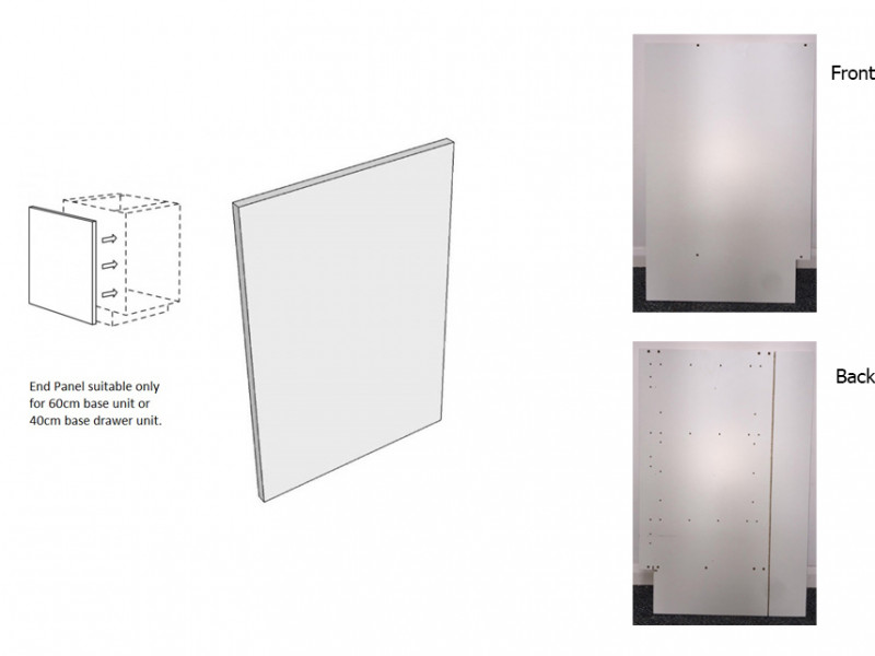 White End Panel Left Hand for Kitchen Cabinet 60cm / 40cm Base Unit - Roxi (Roxi Left End Panel)