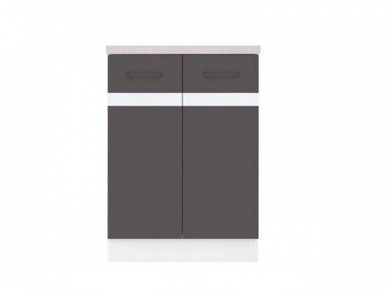 Modern Free Standing Kitchen Cabinet 600 Base Cupboard 2-Door Unit 60cm Grey/White Gloss - Junona (K24-D2D/60/82-BI/SZW/BNG-KPL01)