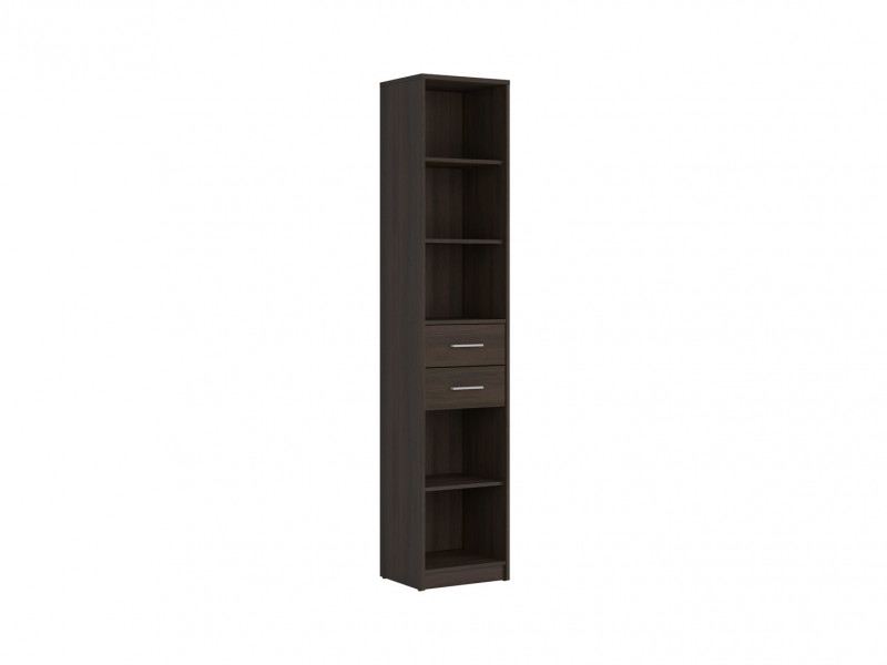Tall Bookcase 40cm Shelf Storage Cabinet With 2 Drawers 4 Shelves in Wenge Dark Wood Effect Finish - Nepo (S435-REG2S/40-WE-KPL01)