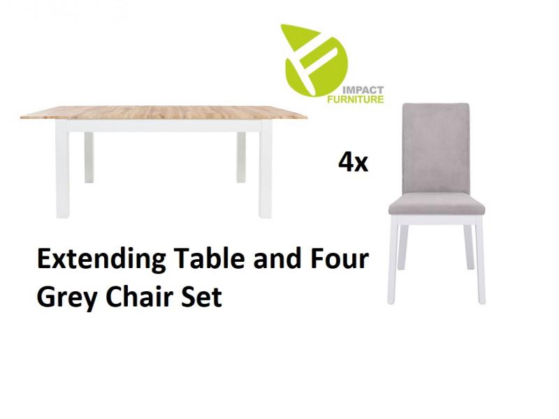 Scandinavian Slim Dining Room Furniture Set Extending White/Oak Table & 4 Grey Velvet Chairs - Holten (D09051-STO_HOLTEN/2_CHAIR_SET_GREY)