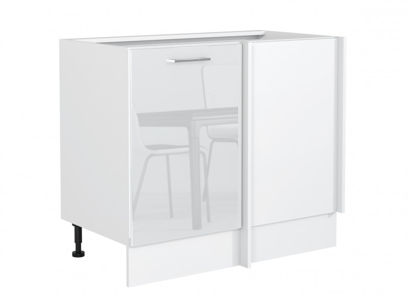 White High Gloss Kitchen Corner Base Cabinet Straight Cupboard Free Standing 110cm Floor Unit - Rosi (STO-ROSI-DN-P/L-BI/BIP-KP01)