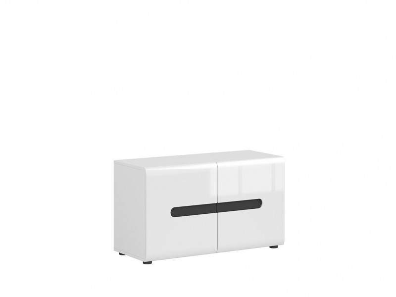 Modern Hallway 2-Door Low Shoe Cabinet Floor Standing with Shelving White/White High Gloss - Azteca Trio (M246-SFK2D/5/9-BI/WEM/BIP-KPL01)
