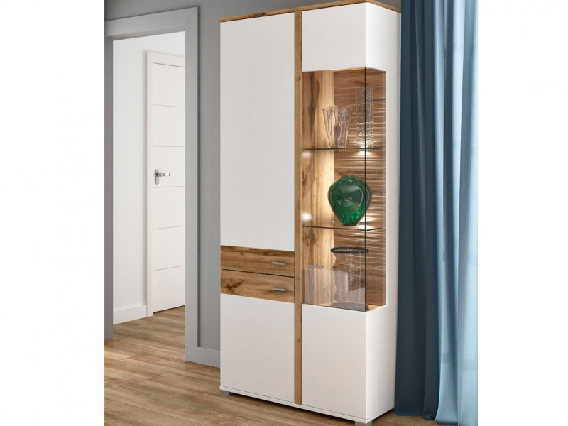 Modern White & Oak Tall Display Cabinet Dresser Buffet Unit 3 Soft Close Doors LED Lights - Alamo (S266-REG1W2D/20/9-DWO/BI/BISM-KPL01)