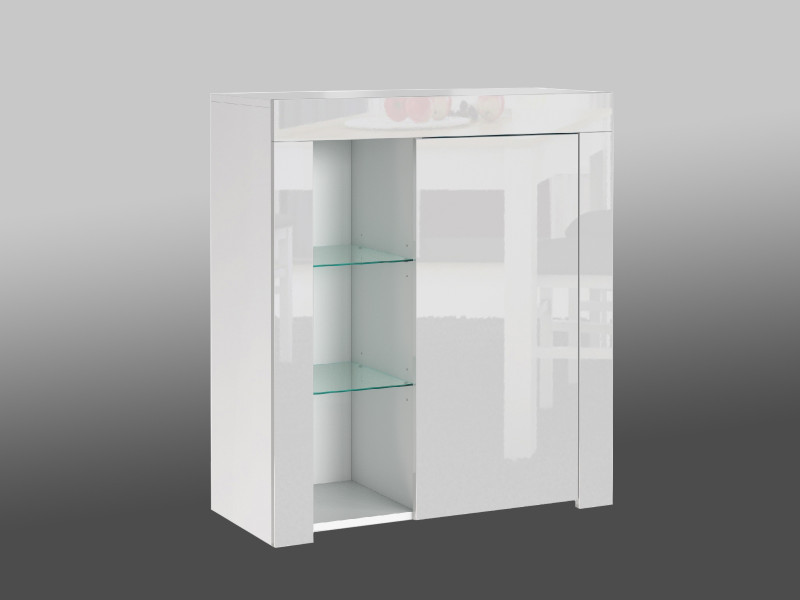 Small White High Gloss Storage Bookcase Modern 1 Door Display Cabinet Unit with Glass Shelving - Lily (HOF-LILY-1D_BI-BIP-KP01)