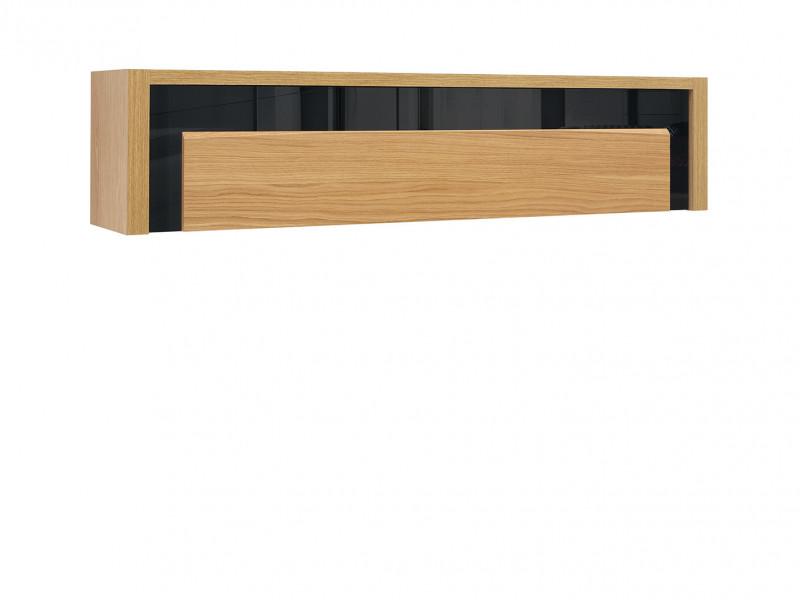 Modern Wall Shelf Cabinet Storage Unit in Oak Wood Veneer Black Gloss Finish - Arosa (S346-SFW1K-DBC/CAP/DNA-KPL01)