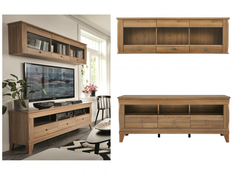 Traditional Light Oak Wide TV Cabinet Media Bench with Drawers & Glass Wall Storage Unit 156cm Set - Bergen (S359-RTV3S-SFW3W-SET-MSZ-KPL01)