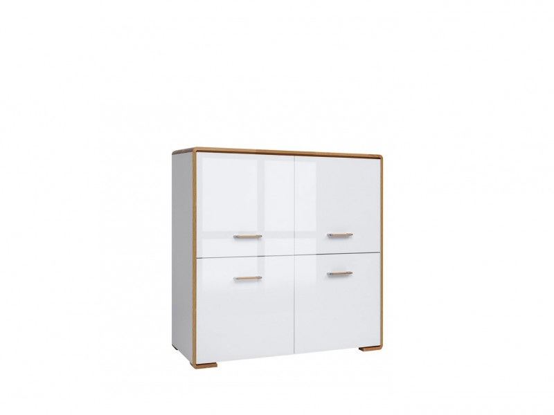 White Gloss and Oak Small Cabinet Square Sideboard - Bari (S332-KOM4D-BI/DNA/BIP-KPL01)