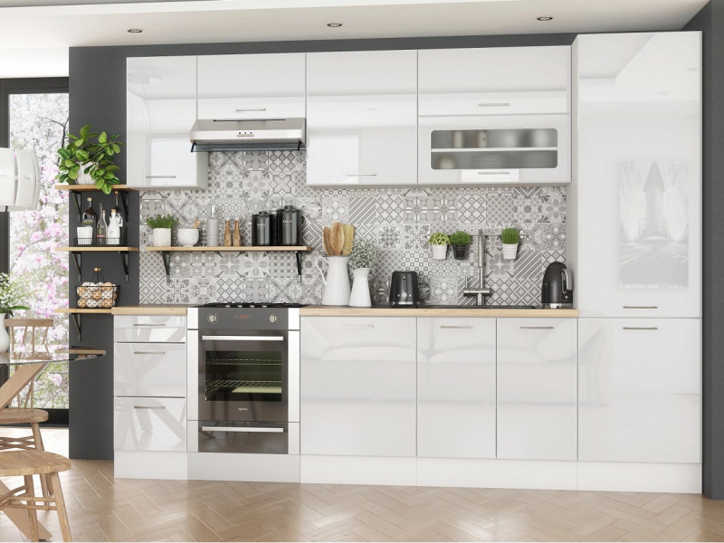 Complete White High Gloss Kitchen Cabinets Set of 8 Units ...